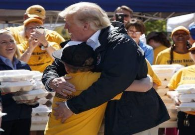 President Trump Hugs Young Boy While Handing Out Meals At A North Carolina Relief Center (VIDEO)