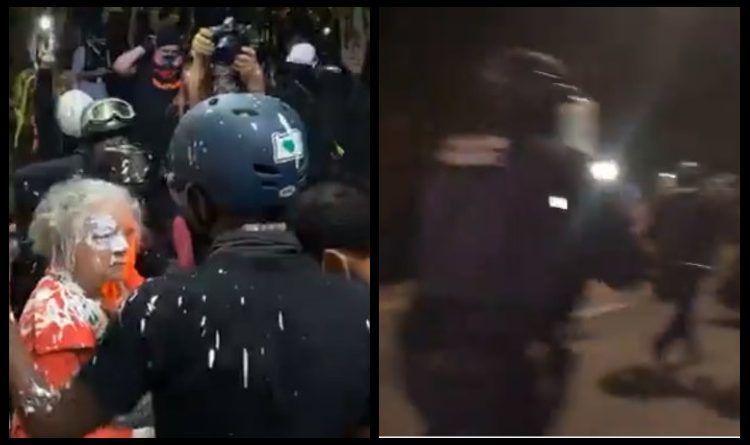 Video: Antifa Storm Portland Suburb, Throw Paint On Elderly Woman – Receive Instant Justice A Few Moments Later